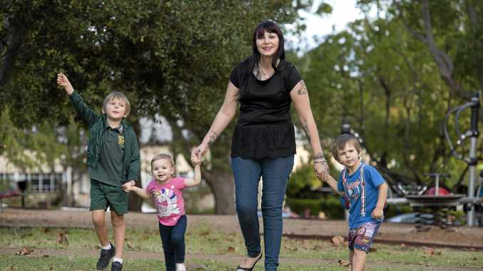 BRIGHTER FUTURE: Crows Nest mum Carla Greenfield with her three children (from left) Lachlan Chapman, 6, Porschia Wormington, 1, and Christopher Chapman,3.