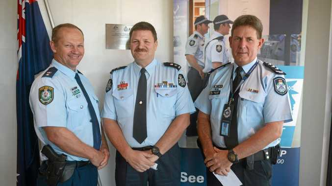 Tweed/Byron LAC Superintendent Wayne Starling, Australian Federal Police Gold Coast Airport Superintendent and Queensland Inspector Greg Baade at the AFP headquarters at Gold Coast Airport on Tuesday.