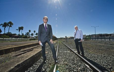 FULL STEAM: John Dornbusch, Interlink SQ Chairman (left) and TRC Mayor Paul Antonio were both pleased with the Federal Government commitment to the inland rail network earlier in the year.
