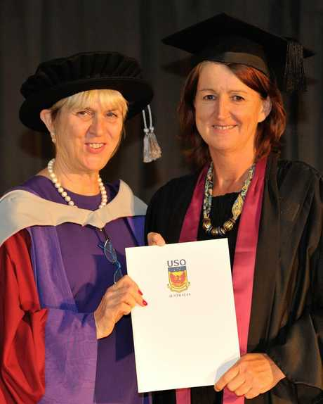 USQ Executive Dean (Faculty of Health, Engineering and Sciences) Professor Lyn Karstadt (left) travelled to the Geraldton Universities Centre to present Ms Beth Brady with her testamur.