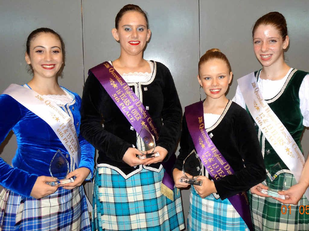Mackay dancers Mary Di Francesco, Anna Emms, Tamlyn Evans and Mia Browning competed successfully at the 2016 Queensland Highland Dancing Championships held in Mackay.