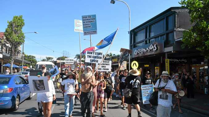 LOCAL ANGER: Protesters at last year's rally against development out on Ewingsdale Road Byron Bay.