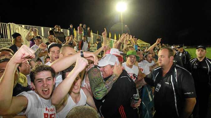Caloundra RSL Cup A Grade Rugby League Grand Final at Stockland Stadium, Kawana: Kawana celebrate victory - Rob Brough is mobbed by the Kawana crowd. Photo: Brett Wortman / Sunshine Coast Daily