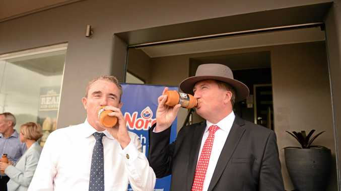 CHEERS FOR THAT: Hogan asks Joyce a question about the $15m national carp control plan.