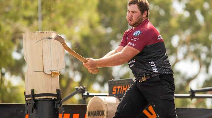 Mitch Argent competing in round one of this year's STIHL Timbersports Championship in Adelaide.