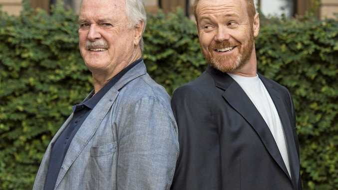 HAVE A LAUGH: Fawlty Towers creator and co-writer John Cleese (left) with   Stephen Hall who will play the role of Basil Fawlty when Fawlty Towers - Live on Stage comes to Brisbane later this year.