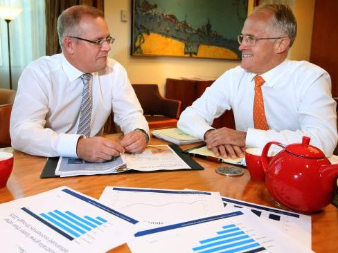 PLANNING FOR THE FUTURE: Treasurer Scott Morrison and Prime Minister Malcolm Turnbull discuss the 2016 budget. Source: News Corp Australia