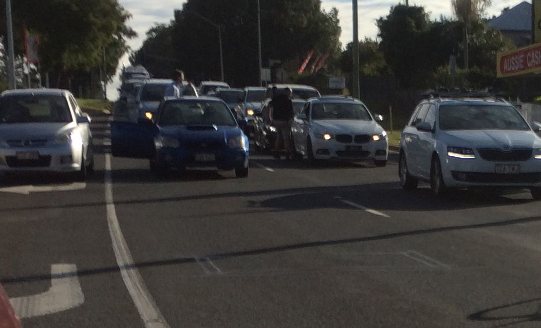 A nasty road rage incident at a congested intersection in North Toowoomba.