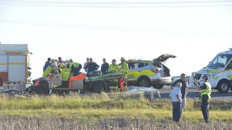 The ute involved in a crash with a school bus on the New England Hwy.