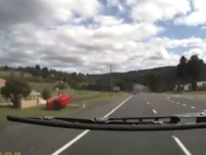 Dash cam as car rolls dodging rabbit