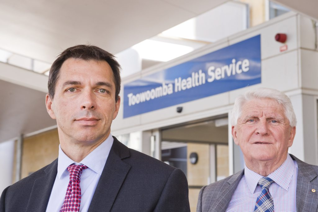 HEAD OF HEALTH: New Darling Downs Hospital and Health Service chief executive Dr Peter Gillies (left) with board chair Mike Horan at Toowoomba Hospital.