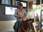 HORSING AROUND: David Burns's pony Gina was a hit with patrons at the Golden Orange Hotel in Gayndah.