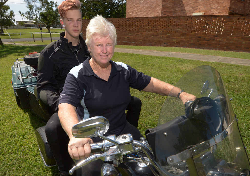 READY TO RUMBLE: Lynn Whitty and her grandson Jesse are about to set off on a six-week motorcycle trip around Australia to raise awareness of prostate cancer.