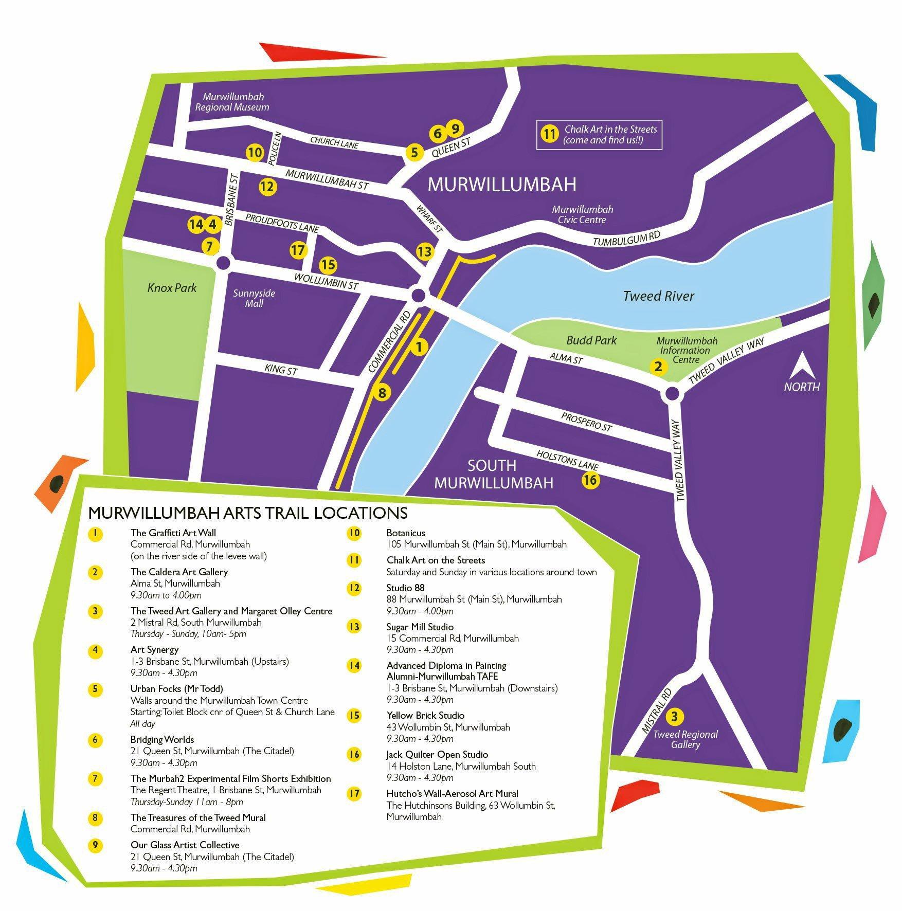 The Murwillumbah Art Trail's 2016 locations.