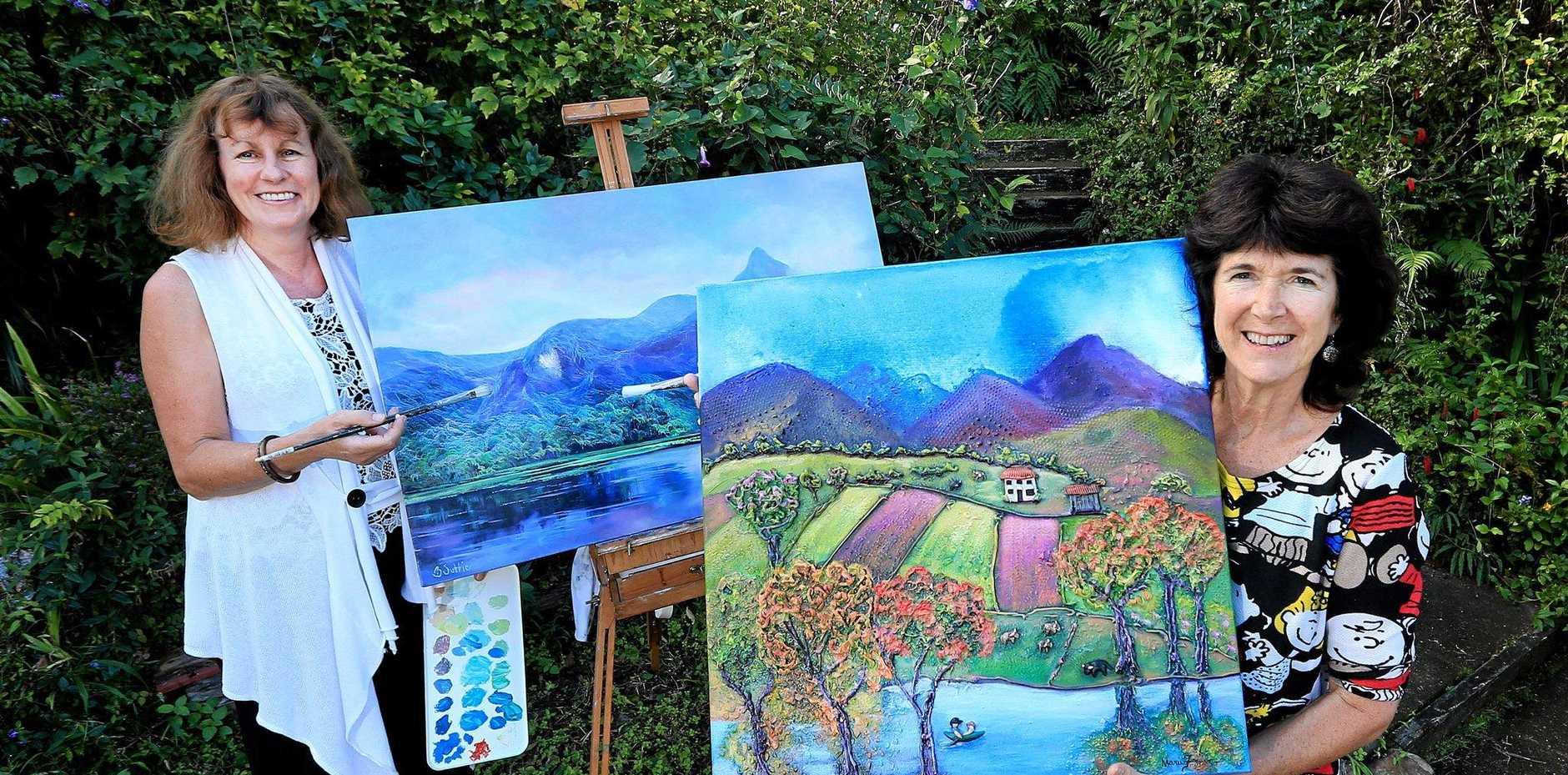 STUNNING VISTAS: Barb Suttie and Marie-Rose France are getting ready for the Murwillumbah Art Trail.