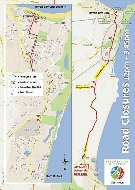 Road closures for the Byron Bay Triathlon.