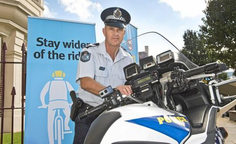 STAY SAFE: Darling Downs Crime Prevention Unit officer-in-charge Sergeant Scott McGrath promoting road safety.