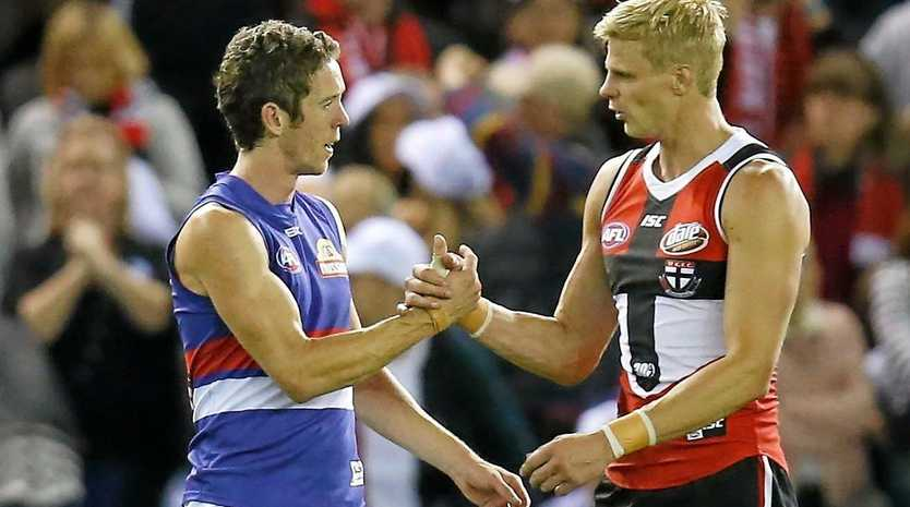 UNDERDOGS: Opposing skippers Robert Murphy (Bulldogs) and Nick Riewoldt (Saints) deserve to meet on the biggest stage, one day soon.