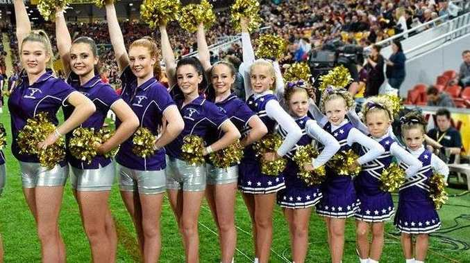 CHEER QUAD: Performing for the Brisbane Broncos game are (from left) Samantha Ryan, Riva Charles, Amber O' Regan, Kristy Bonwick, India Web, Kaylee Keen, Anna Cairns, Bella Jenkins, April Mimmno and Daneka Eyers.