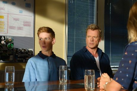 Benson Jack Anthony and Erik Thomson in a scene from the TV series 800 Words.