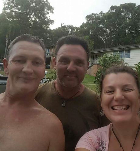 Trevor Dunne (left) with brother Troy and Troy's partner Susan Lynch.