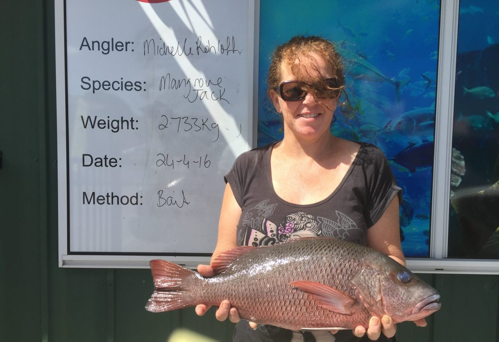 Michelle won Freedom Fishing Supplies' monthly weigh-in voucher for her 2.7Kg jack catch. Photo Freedom Fishing Supplies