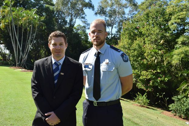 Senior Constable Ryan Thompson and Constable Brent Schulz received bravery awards at Government House.