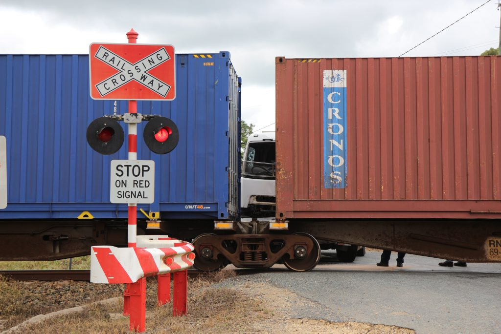 UPDATE: Truck was stuck on train tracks when they collided