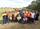 The Queensland Premier Annastacia Palaszczuk with trainees at the the Fraser Coast TESS farm worksite. Photo: Alistair Brightman / Fraser Coast Chronicle