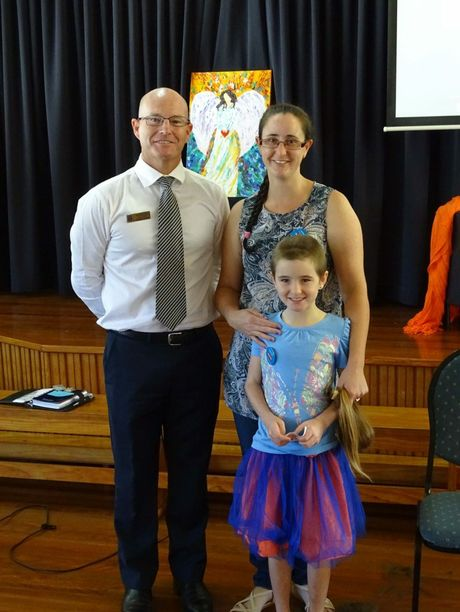 St Anthony's Primary School principal Paul Ryan, Robyn and Isabella Mackay.