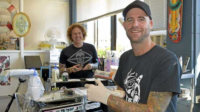 FLASH: Yamba's Squall and Anchor tattoo artists Josh Pidcock and Ben Ross get ready for this Sunday's fundraiser for the Clarence Valley Suicide Prevention Committee.