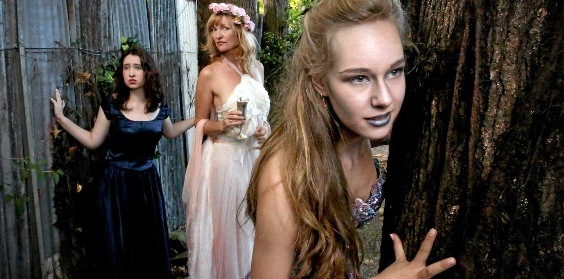 STRONG DEMAND: Zeph Innisfree, Veriste Ferrari and Delphi O'Heart performed in Flutterbies' last Shakespearean production, A Midsummer Night's Dream.
