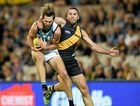 Justin Westhoff takes a strong mark for the Power during their win round six win over Richmond last week. Photo: AAP Image/Tracey Nearmy.