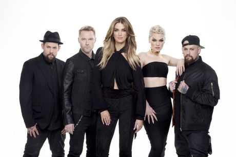 The Voice season five coaches, from left, Joel Madden, Ronan Keating, Delta Goodrem, Jessie J and Benji Madden.