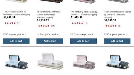 An image of Costco's website offering coffins and caskets for sale.