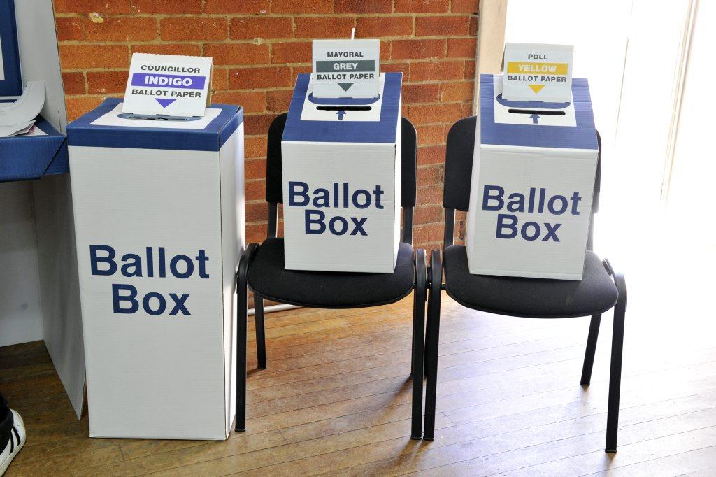 Voting at St Pauls Hall at the Lismore Presbyterian Church on Saturday. Photo Cathy Adams / The Northern Star