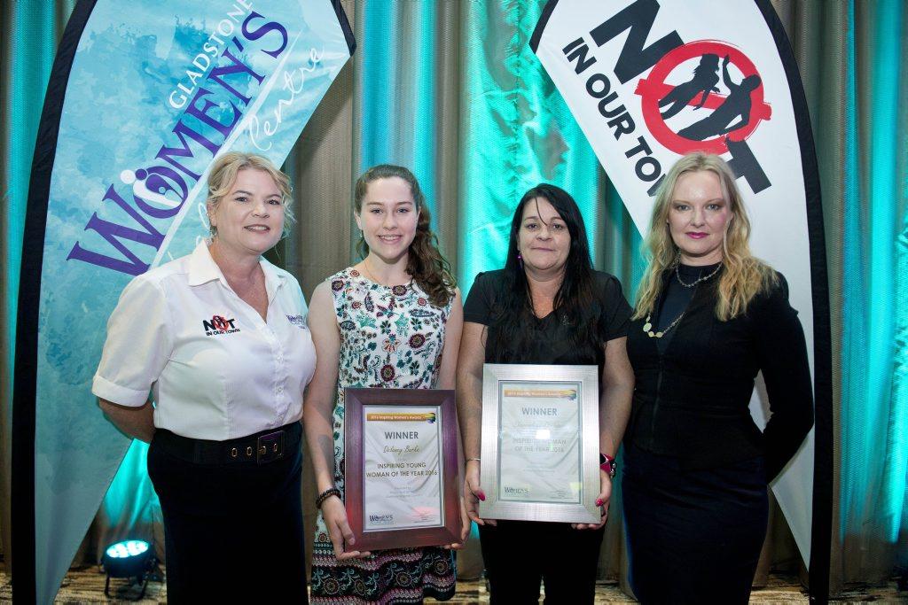 Women's Health Centre's Tash Fee, winners Delaney Burke and Sherradean Springer and guest speaker Rebecca Poulson.