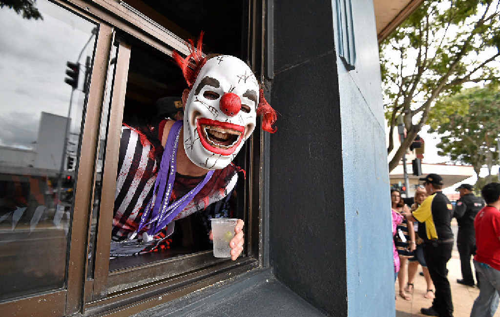 MOVE TO OCTOBER? Evil clown Morgan Hobler from Brisbane at the Central Hotel during the World's Greatest PubFest in Maryborough on May 1.