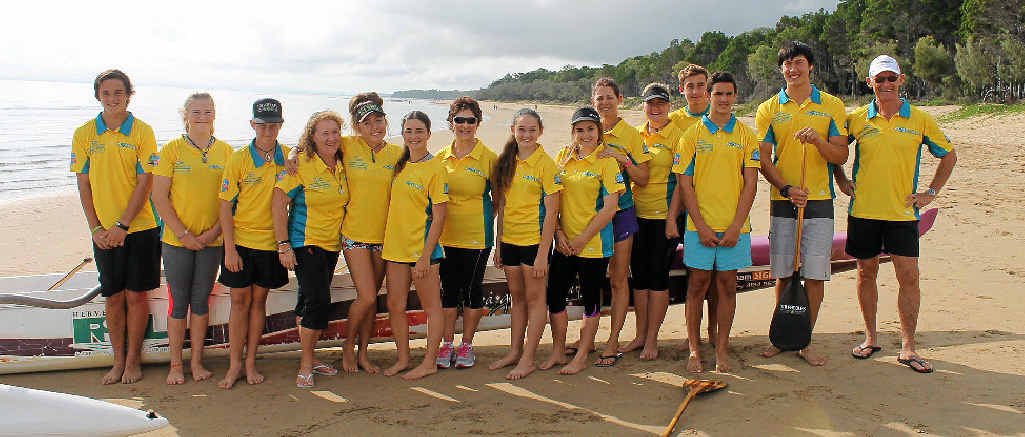 WORLD TITLES: Fraser Coast Outriggers (from left): Curtis Easton, Taleigha Hunter, Lachlan Key, Samantha Powell, Mereana Patara, Amy Easton, Wendy Bentley, Laura Key, Tayla Bentley, Christine Le Mesurier, Emily Wallis, Anthony Ross, Ben Whittaker, Dominic Zhu and Gerry Stevens.