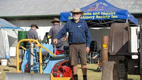 Toowoomba and District Old Machinery Society member Alan Greenwood shows off his Ramsones market garden tractor at Crows Nest Show, Saturday, May 07, 2016.