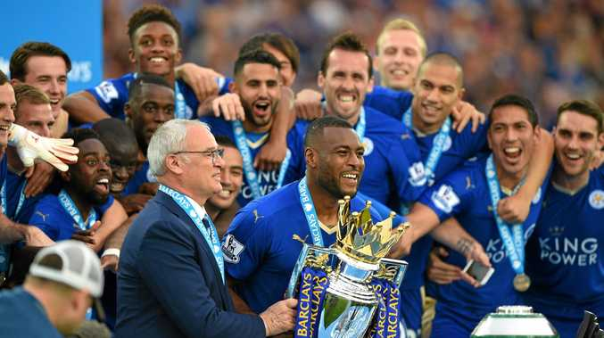 Claudio Ranieri and his Leicester City players celebrate their English Premier League success.