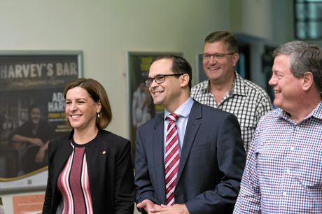 Newly elected LNP candidate for Toowoomba South David Janetzki (centre) with (from left) state deputy leader Deb Frecklington, Toowoomba North MP Trevor Watts and state party leader Tim Nicholls leave the preselection meeting, Saturday, May 07, 2016.
