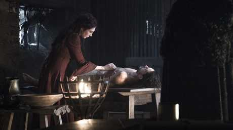 Carice Van Houten and Kit Harrington in a scene from season six episode 2 of Game of Thrones. Supplied by Foxtel.