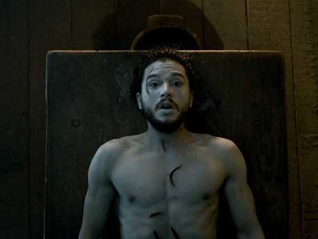 Kit Harrington as Jon Snow in a scene from season six of Game of Thrones.