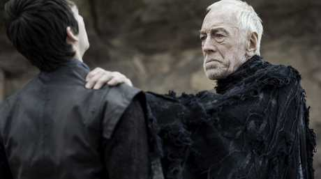Isaac Hempstead Wright and Max von Sydow in a scene from season six, episode three of Game of Thrones.