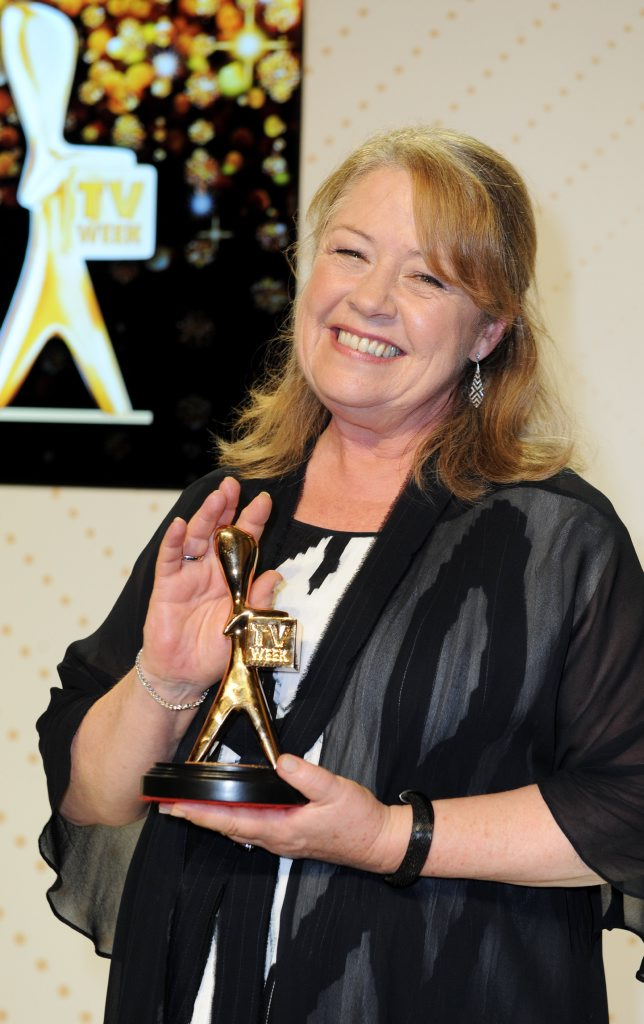 Noni Hazlehurst is inducted into the 2016 Logies Hall of Fame during the 2016 Logie Awards at the Crown Casino in Melbourne.