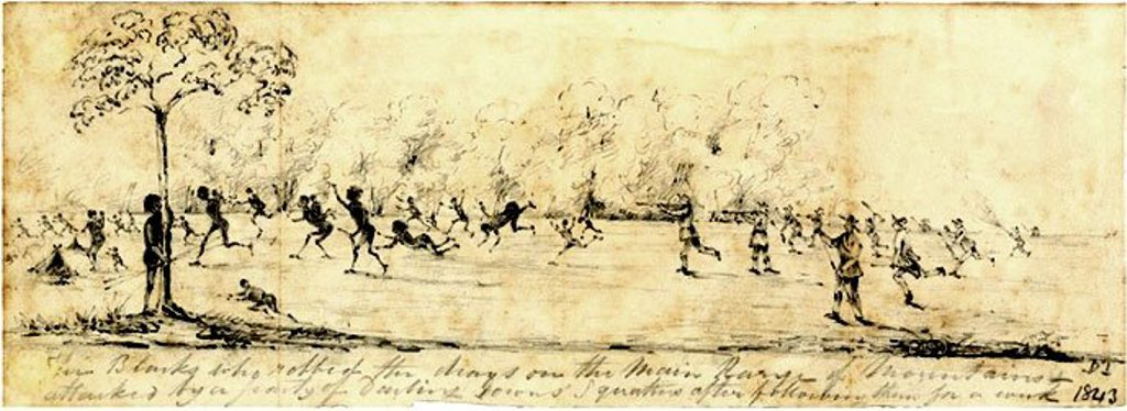 This sketch depicts an attack by squatters on an Aboriginal camp, in retaliation for the Battle at One Tree Hill in 1843.
