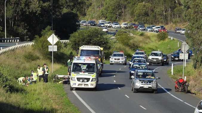 Motorbike crash on the Warrego Highway on Sunday afternoon.Photo: Leigh Grainger