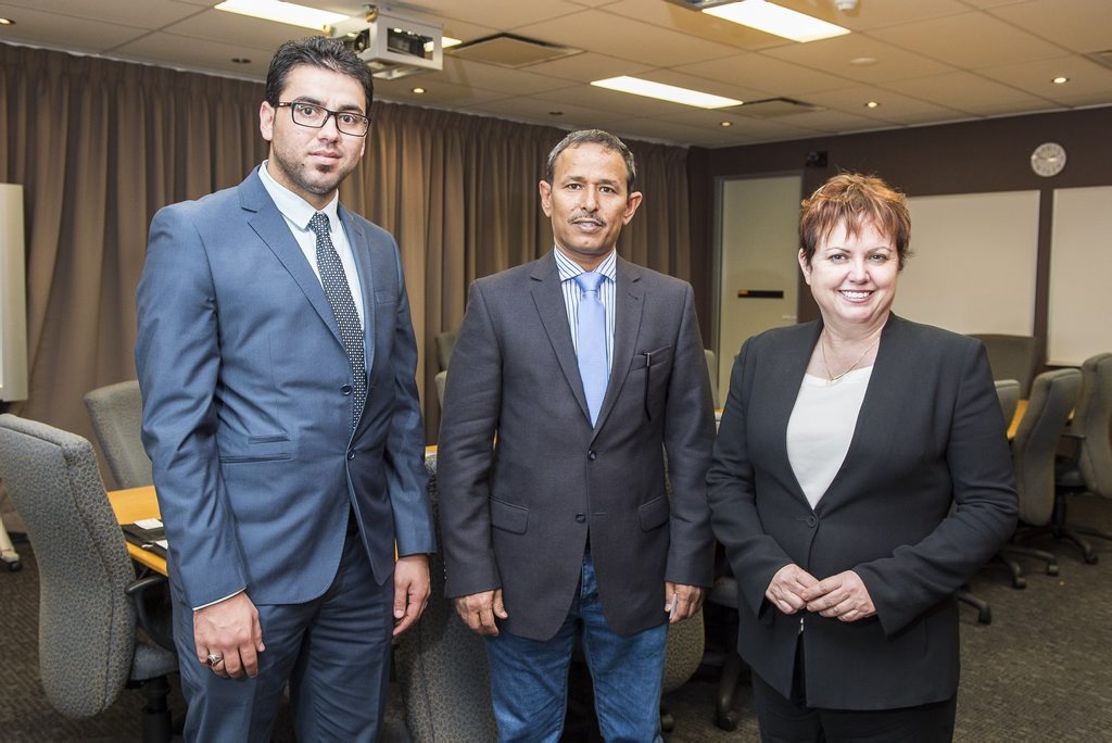 USQ Vice-Chancellor and President Professor Jan Thomas meets with Kuwait Cultural Office Director Dr Fahdad Alajmi (centre) and student advisor Mr Taleb Alwadi. Photo contributed