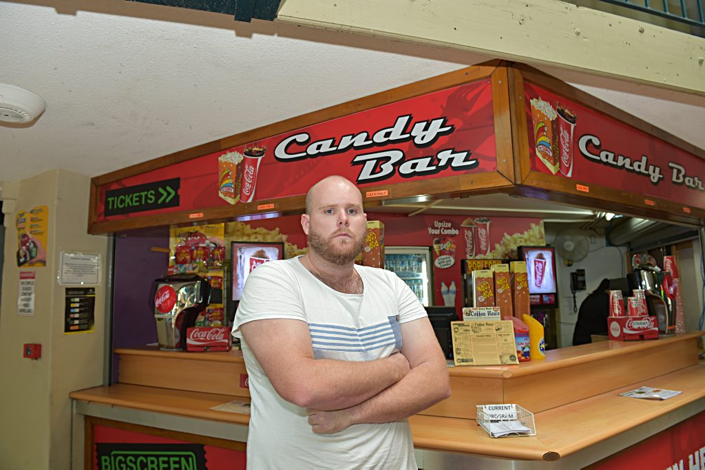 Big Screen Cinemas manager Anthony Struik rushed back to the Bulcock St business after being told of the armed robbery.